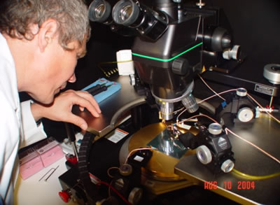 Engineer Sergey Korjenevski tests the setup for the Silicon sensor probing at Rochester